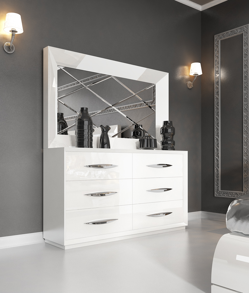 white modern bedroom furniture. Carmen White Double Dresser and mirror  Modern Bedrooms Bedroom Furniture