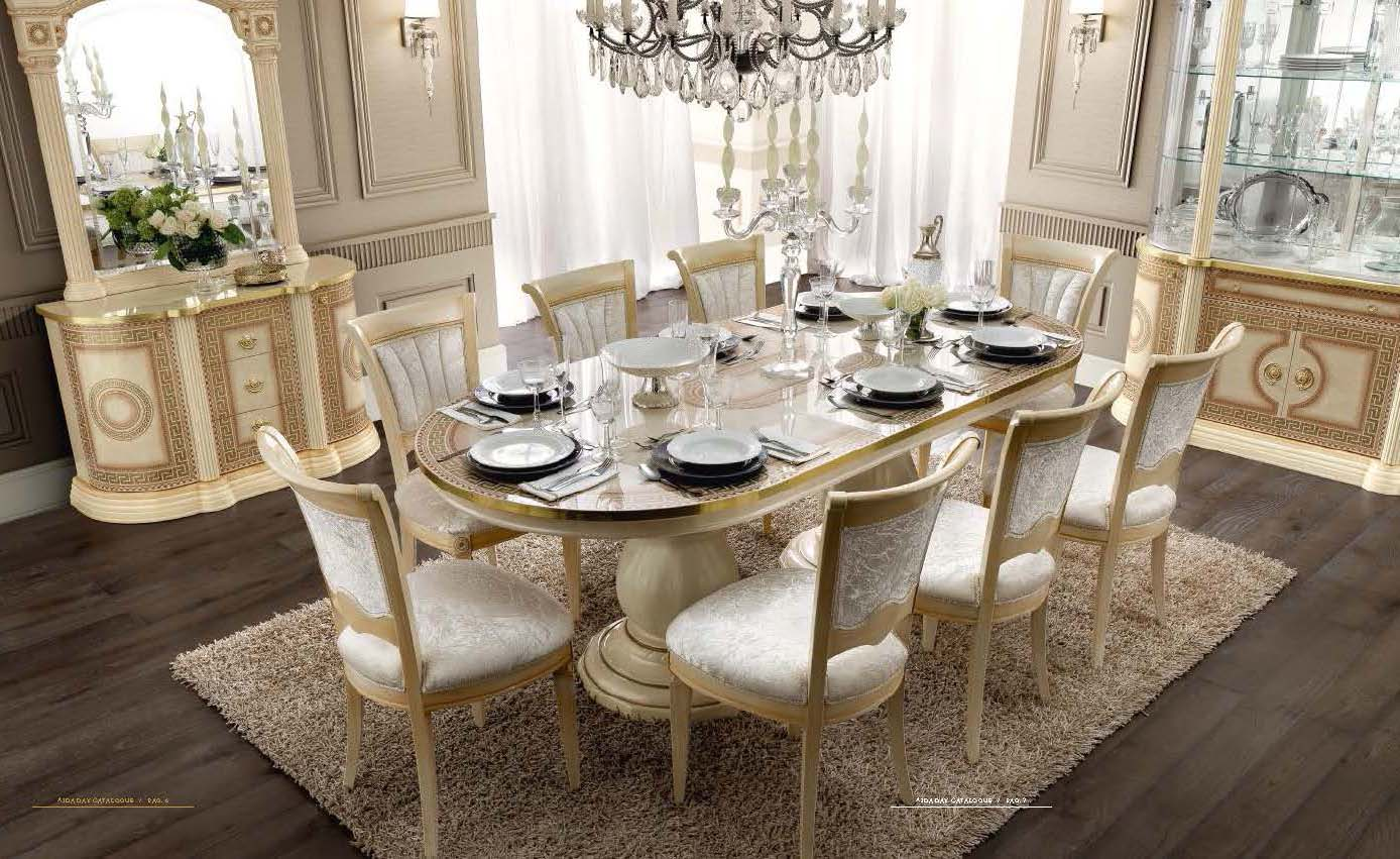Aida dining classic formal dining sets dining room furniture for Unique formal dining room sets