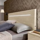 Wood, diamond shaped headboard withe LED courtesy light.